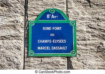 Rond Point des Champs-Elysees street sign, Paris, France