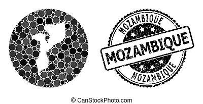 rond, trou, mozambique, timbre, grunge, carte, mosaïque