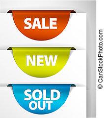rond, vente, /, nouveau, /, vendu, étiquette, ensemble