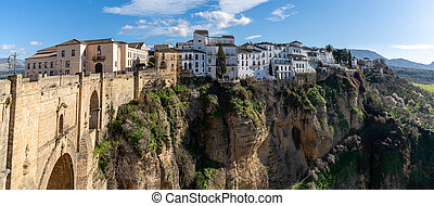 Ronda, Spain - 1 February, 2021: A view of the old town of Ronda and the Puente Nuevo over El Tajo Gorge