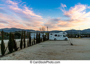 modern caravan and RV park in Andalusia at sunset