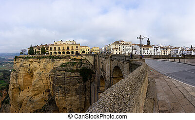 Ronda, Spain - 2 February, 2021: A view of the old town of Ronda and the Puente Nuevo over El Tajo Gorge