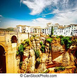 Ronda, Spain. Panoramic view of the old city of Ronda at...