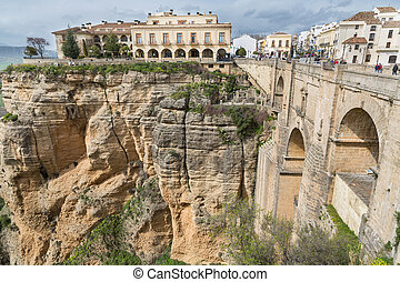 Side view of the old bridge of Ronda, Malaga, Andalusia, Spain