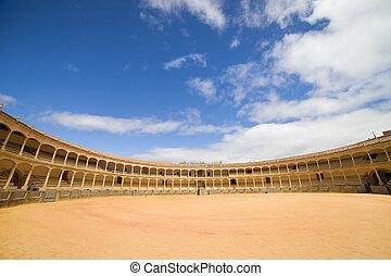 ronda, toreo, arena, en, españa