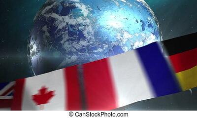 ronddraaien, aarde, met, wereld, vlaggen