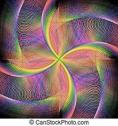 ronddraaien, abstract, fractal, kleurrijke, achtergrond