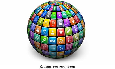ronddraaien, bol, kleur, iconen