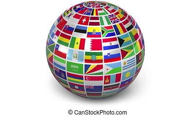 ronddraaien, bol, met, wereld, vlaggen