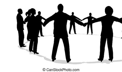 ronddraaien, cirkel, silhouette, mensen