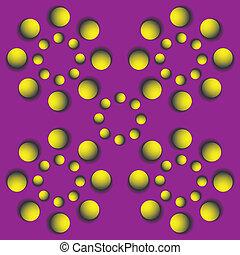 ronddraaien, optisch, balls., illusie