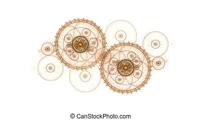 ronddraaien, oud, metaal, de wielen van het toestel