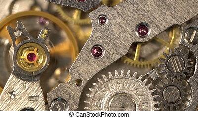 ronddraaien, oud, tandwiel, klokken samenstel van bewegende delen, machine, ticking, stopwatch