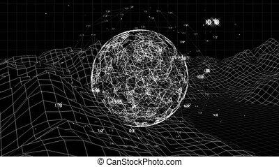 ronddraaien, terain, boven, digitale , globe