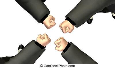 ronddraaien, vier, zakelijk, fist., looping., verhuizing,...