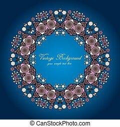 ronde, achtergrond, kant, delicaat, cirkel, pattern., decoratief