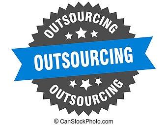 ronde, band, sticker, label., outsourcing, teken.,...
