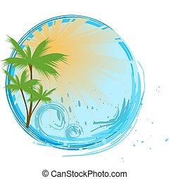 ronde, blauwe , spandoek, met, palm