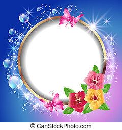 ronde, frame, en, bloemen