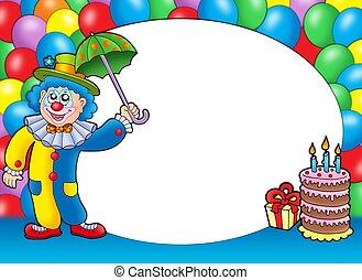 ronde, frame, met, clown, en, ballons