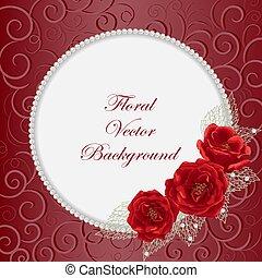 ronde, frame, met, rozen
