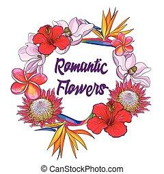 ronde, frame, van, tropische bloemen, en, palm loof