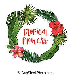 ronde, frame, van, tropische , palm loof, en, exotische bloemen