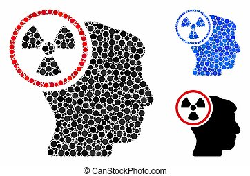 ronde, hoofd, nucleair, denken, mozaïek, punten, pictogram