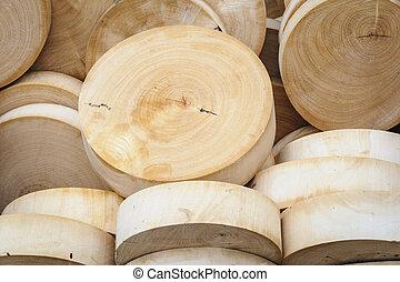 ronde, houten, scherpe raad, in, market.