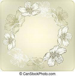 ronde, kant, met, bloeiende bloemen, h
