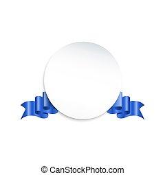 ronde, papier, spandoek, met, blauwe , kleur, lint