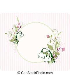 ronde, spandoek, met, floral, ornament
