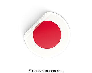 ronde, sticker, met, vlag, van, japan