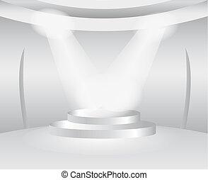 ronde, wite kamer, met, toneel, voor, tentoonstelling,...