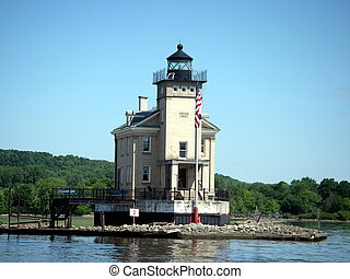 Rondout Lighthouse on the Hudson River in New York.