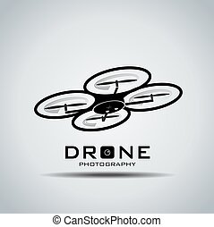 rone with action camera, logo vector