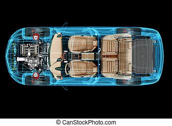 rontgen, 3d, auto, illustratie, technisch, 4x4, effect.