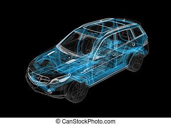 rontgen, chassis, 3d, auto, illustratie, technisch, 4x4, effect, system.
