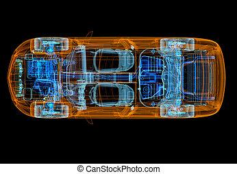 rontgen, overzicht., 3d, auto, illustratie, technisch, 4x4, effect., bovenzijde