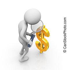 ronzio, segno, dollaro, 3d, uomo