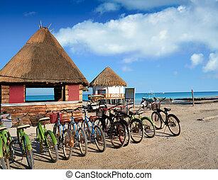 roo, isla,  holbox, choza,  bicycles,  quintana