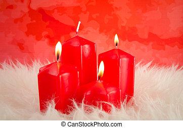 rood, advent, kaarsjes