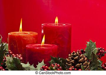 rood, advent, krans, met, kaarsjes