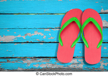 rood, ang, groene, draai mislukking om, sandalen, op, blauwe , hout