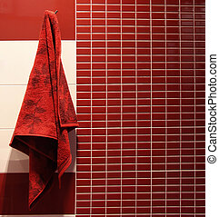 rood, baddoek, hangt, in, een, badkamer