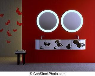Badkamer rood tegels vloer moderne badkamer moza ek for Badkamer plannen in 3d