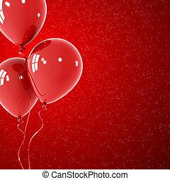 rood, ballons, met, rode achtergrond