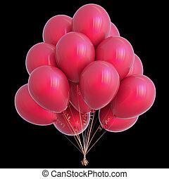 rood, ballons, verjaardagsfeest, versiering, vrijstaand, op, black