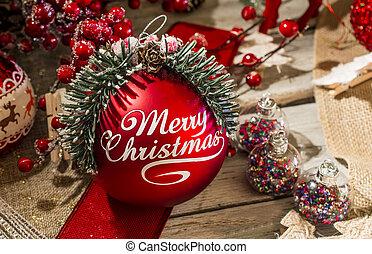 rood, bauble, zalige kerst