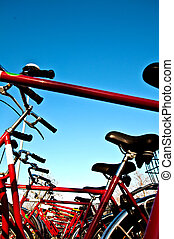 rood, bicycles, in een rij